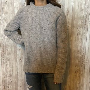 100% lambs wool gray fleck sweater